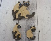 Vintage Handmade Clay Siamese Cat Brooch and Matching Pierced Post Earrings