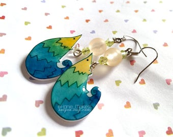 Hand Drawn Pangolin Dangle Earrings