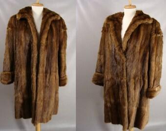 vintage 40s Brown Fur Coat. Rhomberg's Fur Coat. Sable Fur Coat. Russian Sable Fur Coat. Mink Coat. Luxury Gift for Her. DIY. repair. Size M