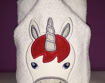 """Whimsical Unicorn Hooded Bath Towel 27"""" x 52"""""""