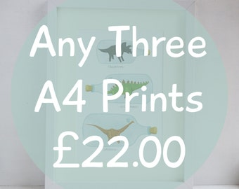 Any Three A4 Prints Special Offer, Multi Buy Art Prints, Childrens Wall Art, Kids Home Decor, Childs Bedroom Art Prints, Space Print
