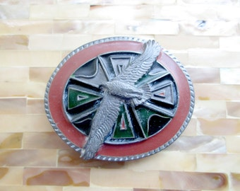 American Eagle Belt Buckle. I fly with the eagle, I follow the buffalo. The Great Spirit guides my path -FL