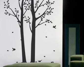 "Two Spring Trees 63""W × 94""H- Living Room Wall Decal, Nature Trees Wall Sticker, Vinyl Wall Art, Tree Decals Removable Wall Sticker pt0290-2"