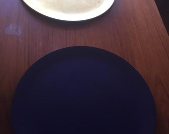 Japanese Vintage Gold and Purple Lacquered Tea Trays/Cake Plates, 1960's Large  Platter, Mid Century