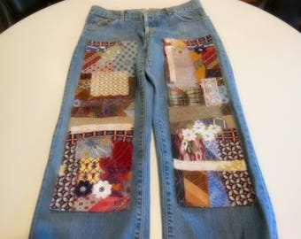 Patched jeans, patchwork denim, up cycled, boho, my art your jeans, DIY patches, trendy denim, hippie, gypsy