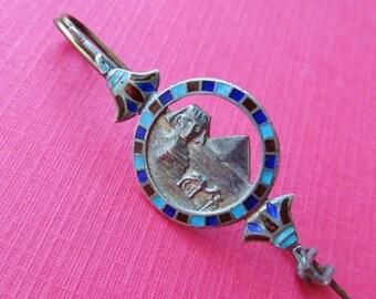On Sale Antique Egyptian Revival Sphinx 800 Silver Enamel Brooch Pin Circa 1920 Art Deco Jewelry