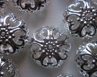 Silver Iron Filigree Beads 23mm 12 Beads