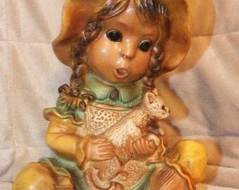 1974 Universal Statuary Corp Bonnet Girl With Cat Figurine