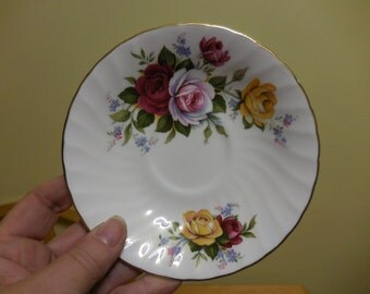 Vintage 1950s to 1960s Saucer Only Staffordshire Lady Elizabeth England Fine Bone China Roses Pink/Burgundy/Yellow