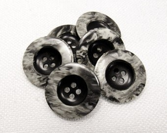 """Like Marble: 7/8"""" (22mm) Black/Gray/Off-White Marbled Buttons - Set of 6 New / Unused Buttons"""
