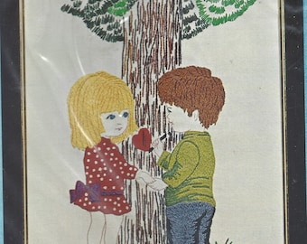 """1970s Fran Mar Moppets Design """"I Wuv You"""" Crewel Embroidery Kit Trio3 Creative Needlecraft Kit 1006 UnOpened Vintage Crewel Embroidery Kit"""