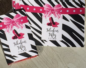 Popcorn wrappers, High Heels Party Wrappers, Hot Pink Heels, Popcorn wraps, Fabulous Fifty bachelorette or hen party favors. Set of 20