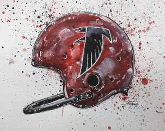 Original Ink and Watercolor Atlana Falcons Vintage Helmet Painting