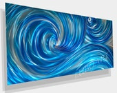 painting Metal art Modern Wall Decor original Sculpture contemporary new style blue ocean dance sea wave hand made by Lubo Naydenov