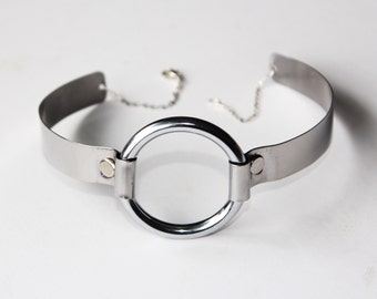 Silver O-Ring Choker Necklace