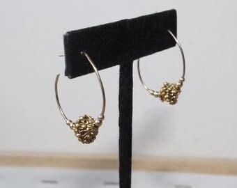 14K Gold Ornate Hoop Earrings
