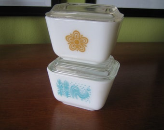 Vintage Butterfly and Butter Print Pyrex Storage Containers