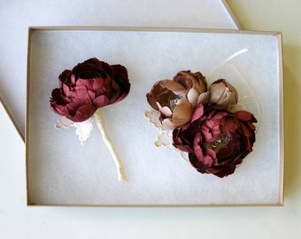 Boutonniere or corsage set . Pure silk. Dupioni silk. Merlot, wine, marroon, burgundy, and champagne pink