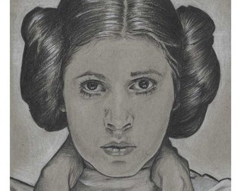 A6 postcard featuring drawing of Carrie Fisher as Princess Leia Organa from Star Wars