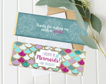 Mermaid Candy bar Wrappers - Purple and Teal - Mermaid Birthday - Instant Download