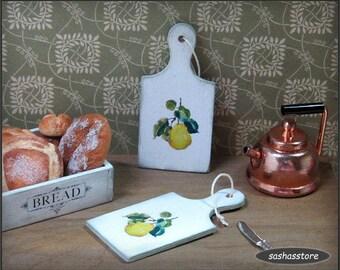 Miniature dollhouse chopping board, kitchen accessory, shabby miniature 1:12 scale