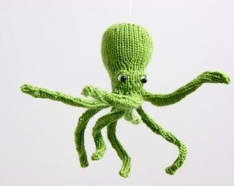 Octopus Mobile, Octopus Baby Mobile, Ocean Mobile, Sea Creature Nursery, Fish Mobile, Nautical Mobile, Beach Decor, Knit Octopus Ornament