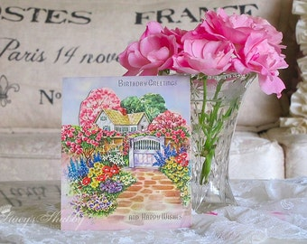 Prettiest Antique BIRTHDAY Pop Up CARD With Cottage Garden, Blossoms, Roses, 3d, Three Dimensional, Cottage, Springtime, Spring