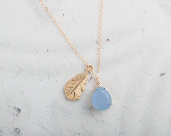 Gold feather necklace with periwinkle blue stone pendant // charm necklace // gold necklace // blue stone necklace // bridesmaid gift