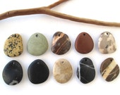 Rock Pendants Natural Stone Beads Mediterranean DIY Jewelry Beach Stone Beads Drilled River Stones Pebble Pendants SWEET PENDANTS 27-30 mm