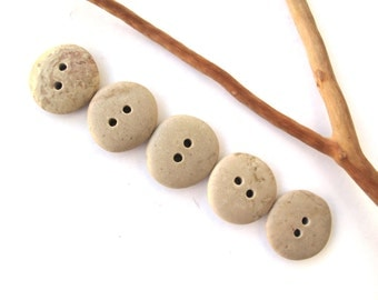 Stone Buttons Mediterranean River Rock Pebble Organic Knitting Sewing Craft Supplies Findings 5 BEIGE BUTTONS 21-22 mm