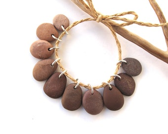 Stone Beads Rock Charms Drilled Rock Mediterranean Beach Stone Beads River Stone Pebble Pairs PEACH to BROWN CHARMS  15-17 mm