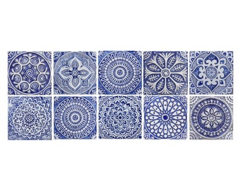 Decorative tiles in blue and white, Ceramic tiles with ethnic design, SET OF 10 TILES, Ceramic wall art, Outdoor wall art, Spanish tiles