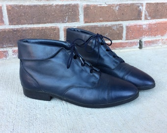 vtg 80s LACE UP navy blue leather Ankle BOOTS flats 10 boho oxfords cuff grunge brogues preppy