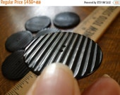 """Cool Vintage Buttons Xtra Large Black Coat -1 1/2"""" (38MM size 60L) early plastic 2-hole flat back with ridges matte front sewing sew on"""