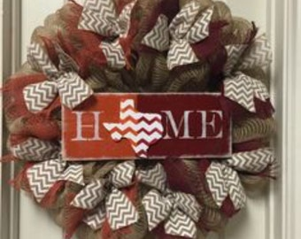 House Divided Wreath, Texas Longhorn Burlap Wreath, Texas Aggies Wreath, Texas Home Sign Wreath