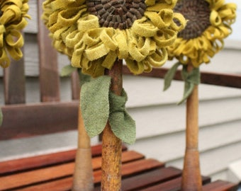 Primitive Hooked Rug Sunflower Make Do on Old Wooden Bobbin