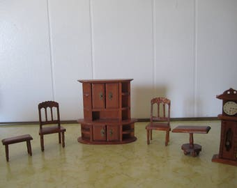 Vintage Dollhouse Wood Furniture Grandfather Clock Cupboard 2 Chairs 2 Tables