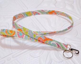 Fabric Lanyard Badge Holder Keychain Lanyard Teacher Lanyard Paisley Print