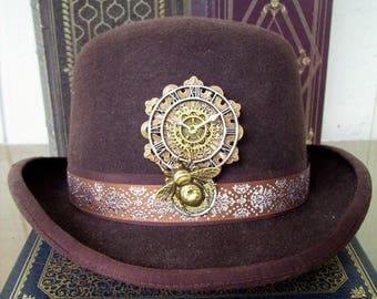 Steampunk Hat Pin (P721) Brooch, Clock Work Design, Large Bumble Bee, Swarovski Crystals