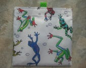 Colorful Frogs Reusable Sandwich Bag, Reusable Snack Bag, Washable Treat Bag with easy open tabs