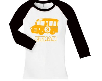 Personalized School Bus Birthday Shirt -  cropped/long sleeve fitted raglan shirt - any age and name - pick your colors!