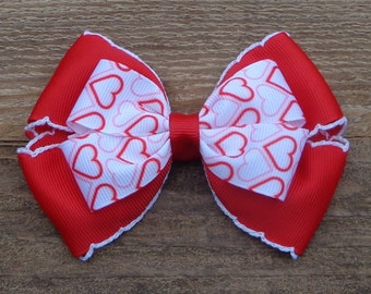 "Red Valentine's Day Hair Bow~Large Boutique (Approximately 4"") for Valentine's Day~Hairbows for Valentine's Day~Red Boutique Bow~Heart Bow"