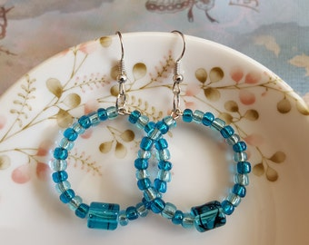 On Sale - Blue Glass Beaded Hoop Earrings - Silver Finish - Gift for Her
