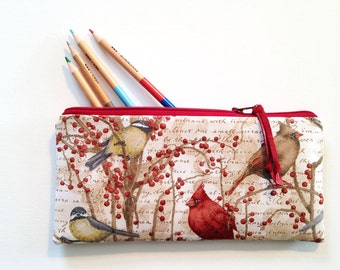 Mary's Cardinals, zipper pouch, pencil case, make up bag, organizer, zipper bag