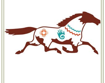 Southwest Horse svg file  Painted Horse svg Use for iron on transfers, printable cards, vinyl cutting projects, signs, SVG