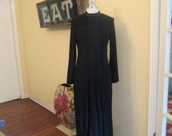Vintage Black Gown With Rhinestone Collar / Simondona Formal Stunning Gown Small Medium