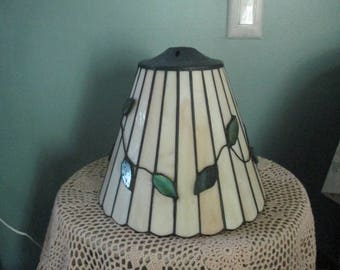Vintage Stained Glass Lamp Shade / Beige Cream Green Leaves Stained Glass