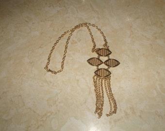 vintage necklace goldtone chain dangles