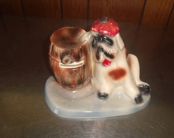 vintage dog puppy figurine flower planter pot saint bernard barrel heavy pottery