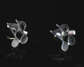 Music note cuff links sterling silver